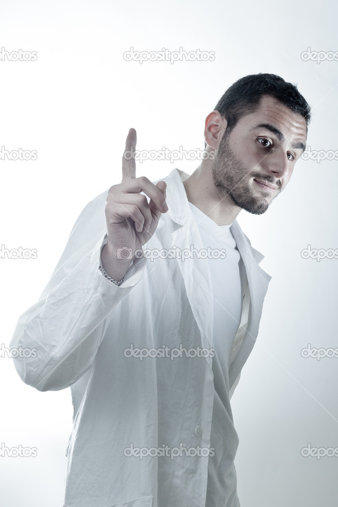 Young researcher wearing a labcoat asking a question — Foto Stock #11130422