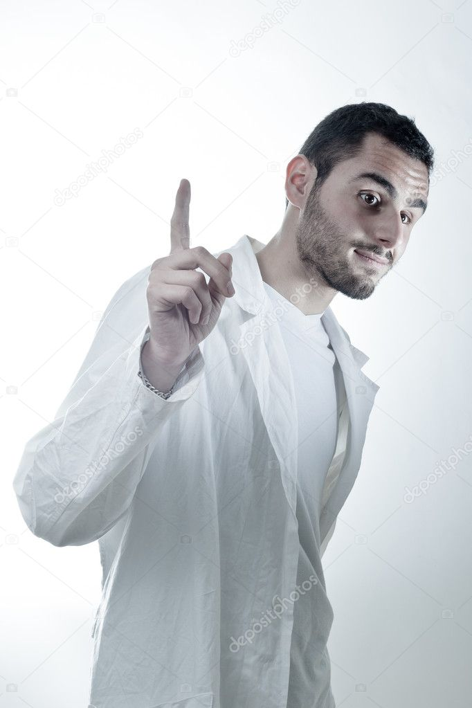 Young researcher wearing a labcoat asking a question  Foto Stock #11130422