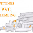 Stock Photo: Fittings PVC and pipes made of polypropylene