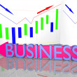 Stock Photo: Business word on arrow and Statistic Diagram Graph Financial strategy concept