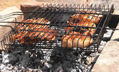 Meat grilled barbecue on charcoal — Stock Photo