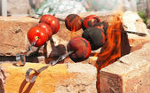 Tomato Grilled on skewer with open fire — Stockfoto