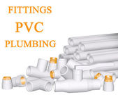 Fittings PVC and pipes made of polypropylene — Stock Photo