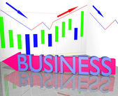 Business word on arrow and Statistic Diagram Graph Financial strategy concept — Stock Photo