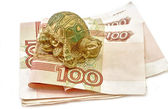 Money and Tortoise Rich concept Feng Shui Asian — Stock Photo
