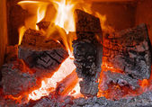Fireplace with flame — Stock Photo