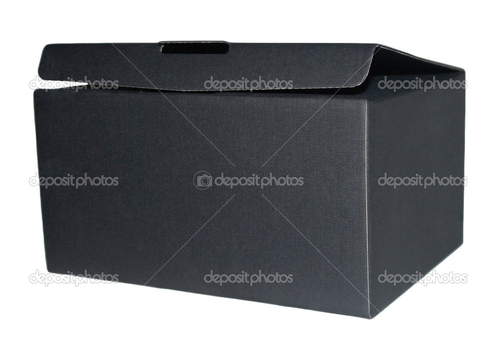 Box open black isolated on white background — Photo #11043921