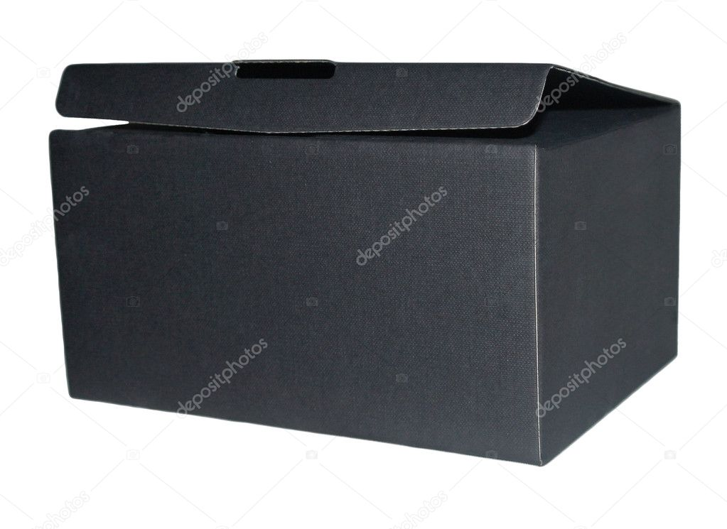 Box open black isolated on white background — Stok fotoğraf #11043921