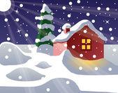 Christmas-home — Stock Vector