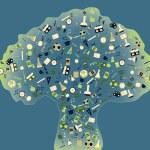 tillbaka till skolan - träd med utbildning ikoner — Stockvektor