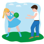 Boy and girl playing with a ball — Stock Vector