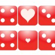 Dice with heart shaped ace. — Stock Vector