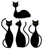 Four Black Cats — Stock Vector