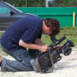 Videographer to film an interesting moment — Stockfoto