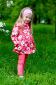 The beautiful little girl in apple tree park — Stock Photo