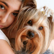 Girl with Yorkshire Terrier Portrait — Stock Photo