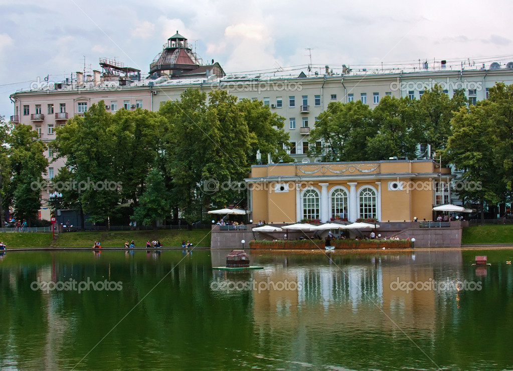 Patriarshiye Ponds is an affluent residential area in downtown of Moscow, Russia.  Stock Photo #11376476