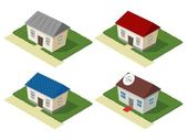 Isometric set of residential houses — Stock Vector