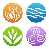 Symbols of four elements vector — Stock Vector