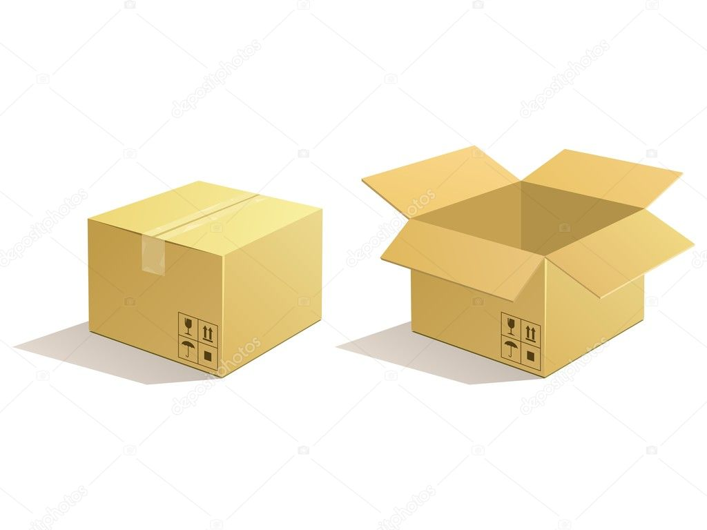 Cardboard parcel. Box package icons. — Vettoriali Stock  #10964814