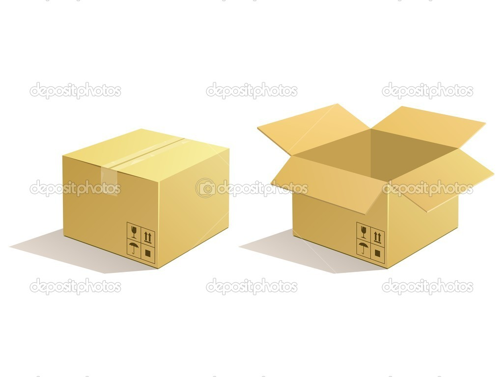 Cardboard parcel. Box package icons. — ベクター素材ストック #10964814