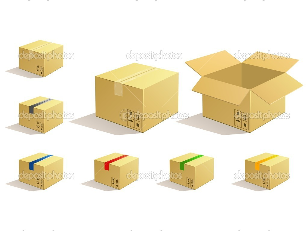 Cardboard parcel. Box package icons. — Stock Vector #10964820