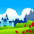 Royalty-Free Stock Vector Image: Fantasy castle on green landscape