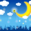Royalty-Free Stock Vector Image: Moon and skyline