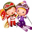 Boy and Girl skiing — Stock Vector #11083656