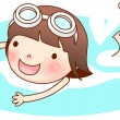 Portrait of girl swimming — Stock Vector