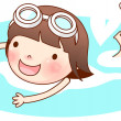 Portrait of girl swimming — Stock Vector #11084044