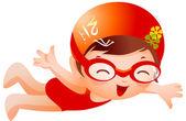 Girl Swimmer — Stock Vector