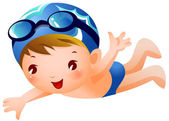 Boy Swimmer — Stock Vector