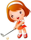 Girl playing Golf — Stock Vector