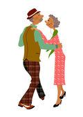 Senior adult dancing together — Stock Vector
