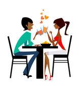 Couple raising glasses at dinner table — Stock Vector