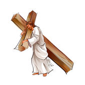 Side view of Jesus Christ holding cross — Stock Vector