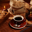 Coffe cup with sugar and candles — Stockfoto