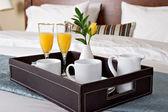 Breakfast in bed — Stock Photo