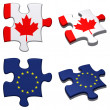 EU &amp;amp; Canada puzzle - Stock Photo