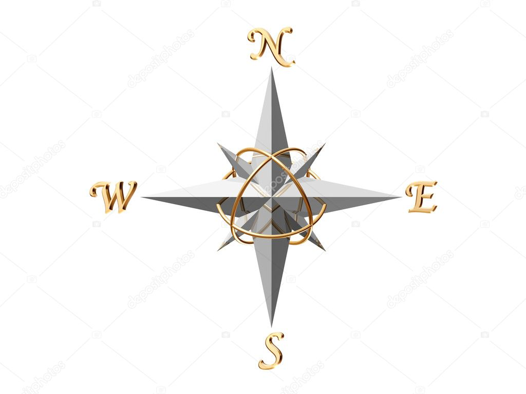 3d rendered silver compass isolated on white background — Stock Photo #11006867