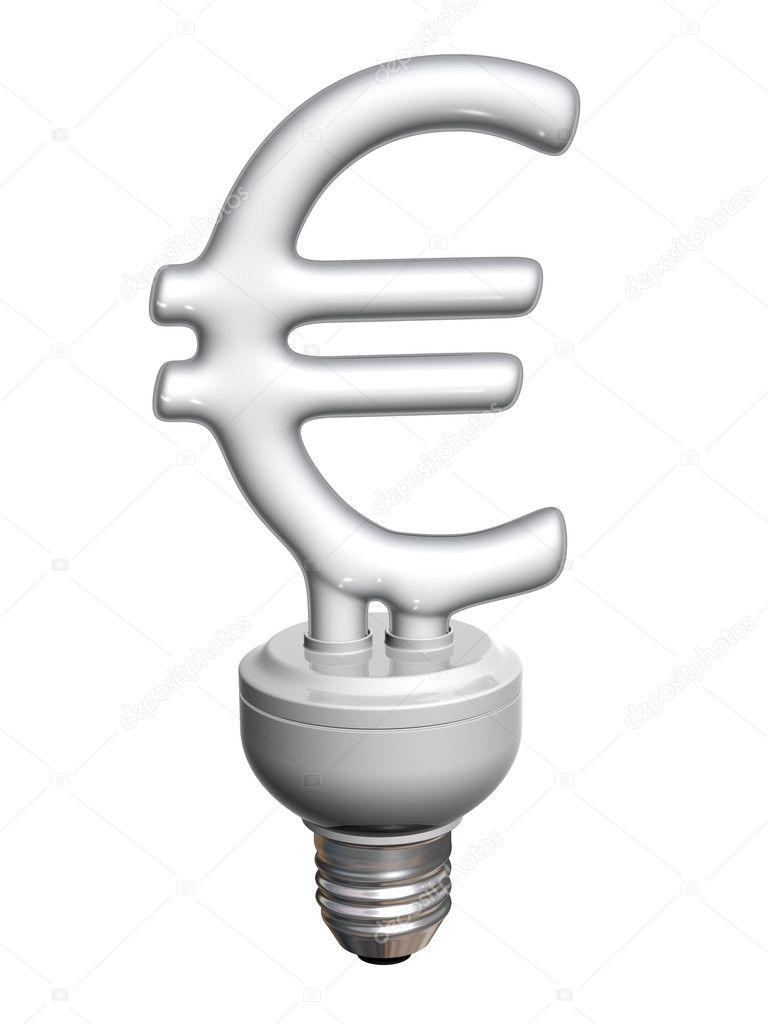 Euro bulb, symbol of idea, money, economy, power and business — Stock Photo #11006885
