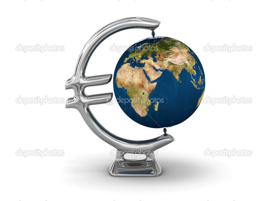 Earth globe with Euro designed rack — Stock Photo #11006904