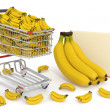 Shopping cart full of bananas - Stock Photo