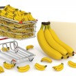 Stock Photo: Shopping cart full of bananas