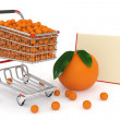 Shopping cart full of oranges - Stock Photo