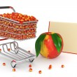 Shopping cart full of peaches - Stock Photo