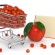 Shopping cart full of red apples - Stock Photo