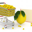Shopping cart full of yellow lemons - Stock Photo