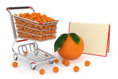 Shopping cart full of oranges — Stock Photo